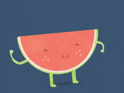 Happy watermelon watermelon illustration