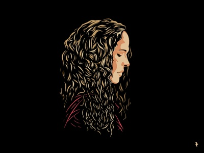 Girl head face outline shy sad side music blondie silhouette girl woman curly long hair hair blonde character linework graphic design illustration vector