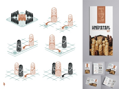 Hnefatafl Guidebook brochure guidebook scandinavian scandinavia chess piece chessboard board game board chess viking hnefatafl typography vintage ux character linework branding graphic design illustration vector