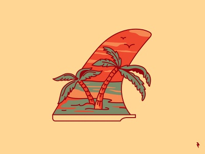 Surf summer paradise birds shore seaside sea ocean beach palm tree palm wave surfing surf ui ux flat linework graphic design illustration vector