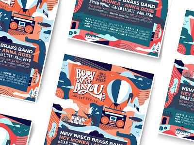 Born On The Bayou music coaster poster lanscape horizon ocean ship scrimp louisiana pelican air balloon bolloon alligator character ux flat linework graphic design illustration vector