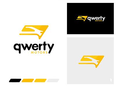 qwerty motors car shop motors qwerty store shop import sale retail vehicle auto car typography ux branding logo mark emblem graphic design illustration vector