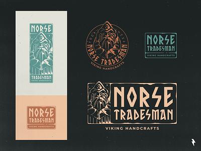 Norse Tradesman Pt.3 blacksmith tradesman warrior character mythology odin norse mythology norse nordic color palette typeface font calligraphy typograpy viking linework branding graphic design illustration vector