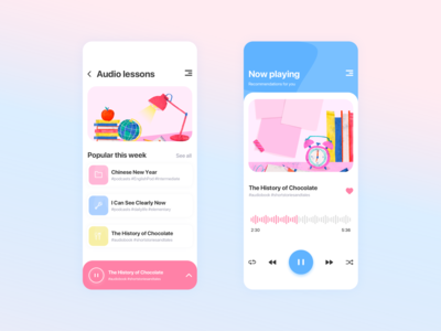 Audio lessons app concept
