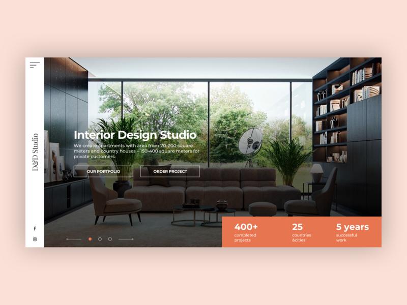 Interior design studio modern clean first screen minimalism interior design