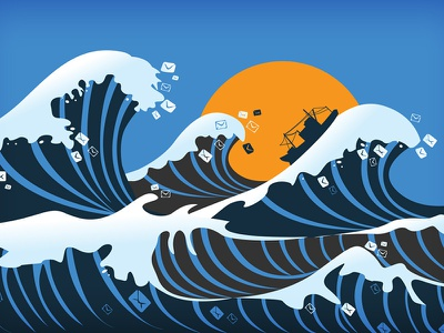 Email Odyssey artwork wave of peace ship illustration waves email odyssey