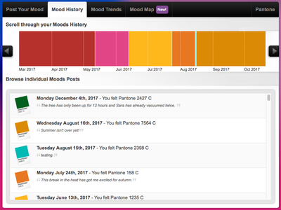 Pantone Moods pms swatch color interface ux ui application facebook moods pantone