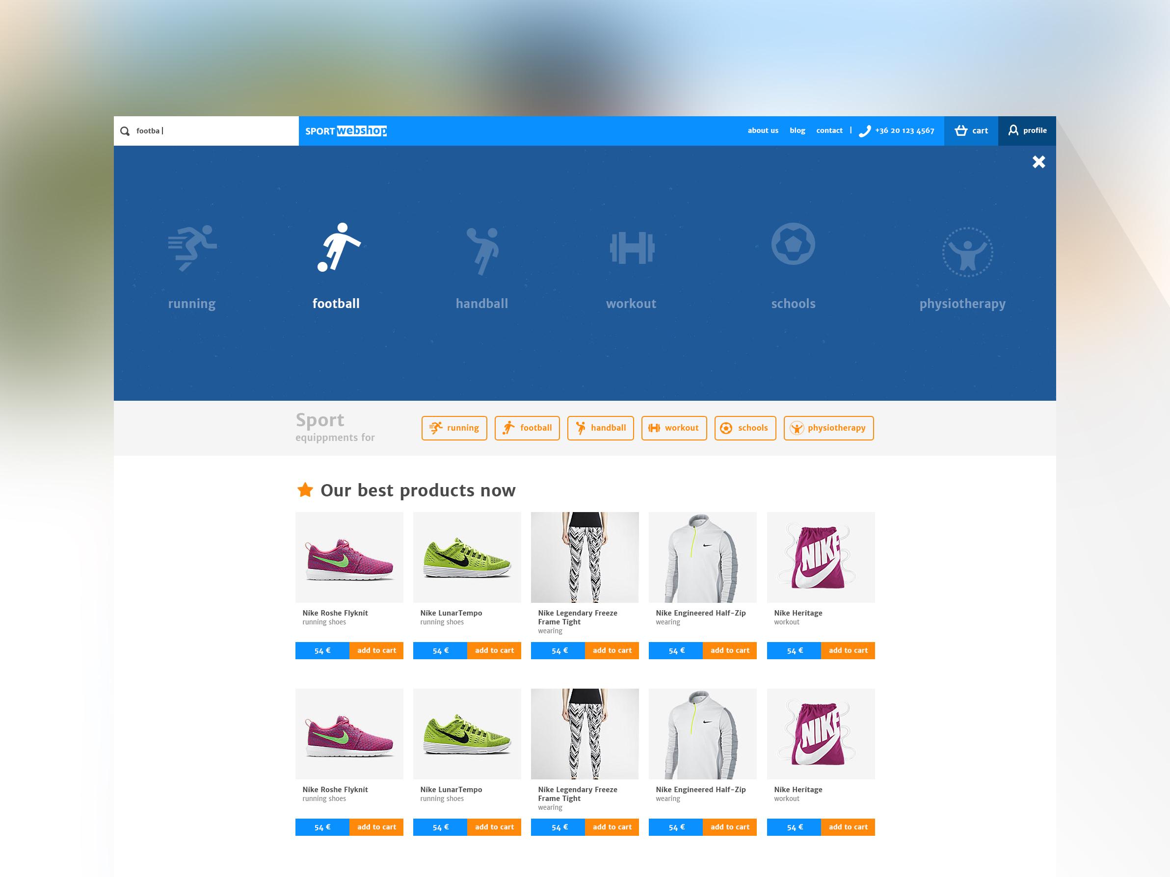 Sportwebshop search module 2
