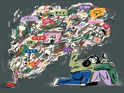 New York Times mentalhealth cyberbully tech pencil texture new york times nyt art editorial illustration illustration