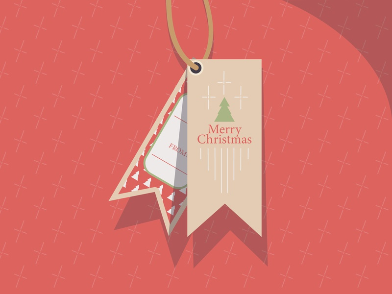 A Holiday Gift Tag color tag design tag holiday christmas card christmas dribbbleweeklywarmup vector illustration design
