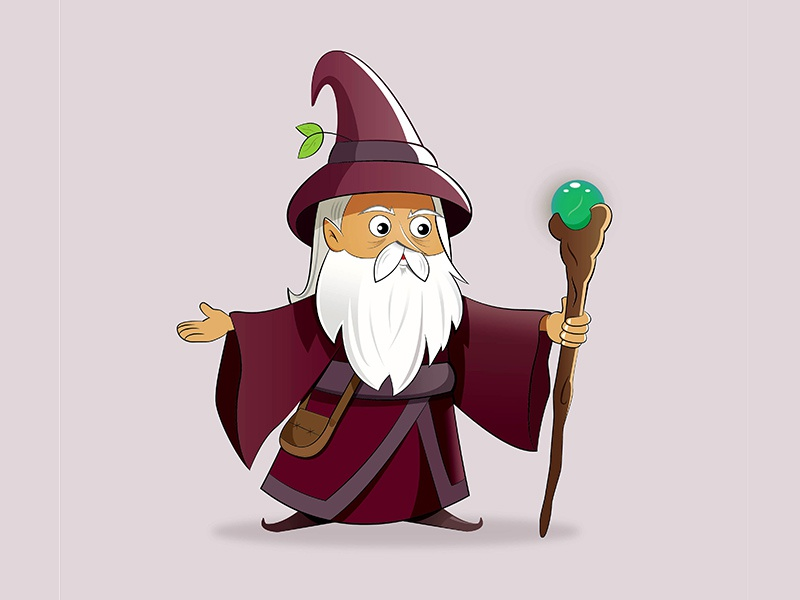 Old Wizard digital art wizard character. illustration