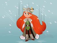 Viking Girl And Her Faithful Companion
