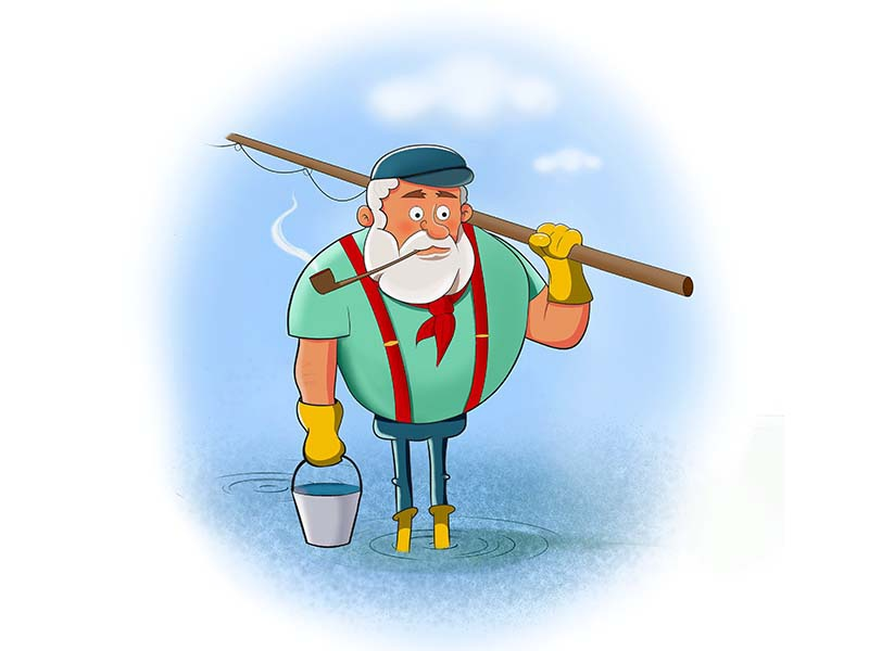 Fisherman character design fisherman illustration