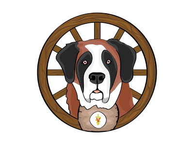 Saint Bernard Dog Icon branding icon logo animal wagon wheel wheel working dog rescue swiss miss saint bernard dog