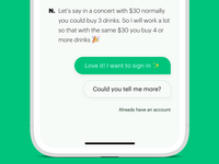 Chatbot visuals and buttons