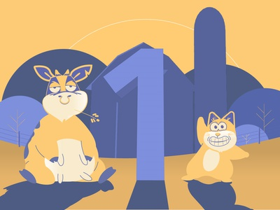 One year motion character design animation 2d illustration