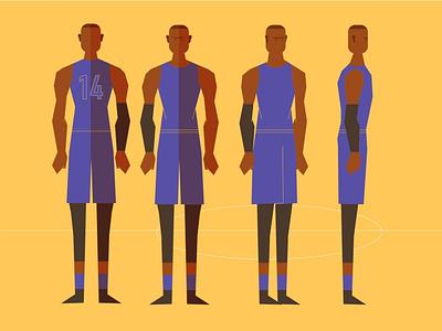 basketball vector character 2d illustration