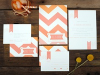 Chevron Stripes Wedding Invitations
