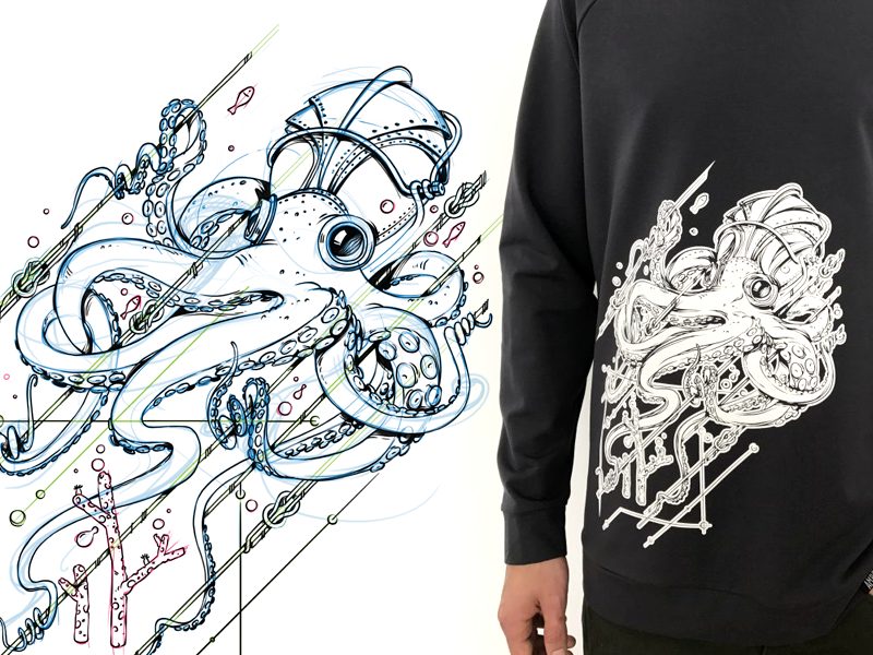 Octopus black sketch octopus game design character design character illustration drawing artwork fashion
