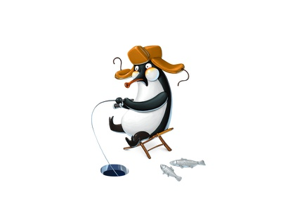 Penguin winter fishing character character design winter game design gamedev concept art penguin ui