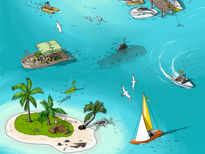 City life. Beach city summer sea kids illustration gamedev game design game art game drawing design cute cool concept character design character cartoon beach artwork anime animation
