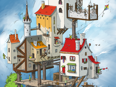 City life. Medieval town summer city kids illustration gamedev game design game art game drawing design cute cool concept character design character cartoon beach artwork anime animation