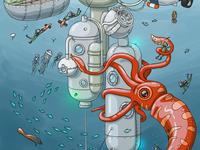 City life. Underwater city