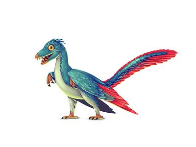 Dinoboom IV Archaeopteryx illustration ui gamedev game design dinosaur concept art concept character design character archaeopteryx