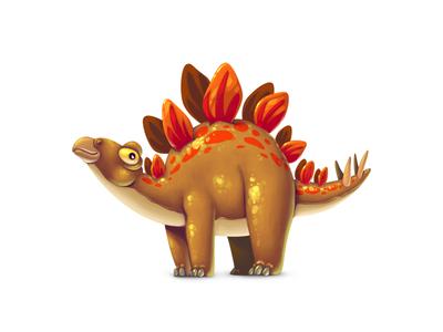 Dinoboom VI Stegosaurus illustration ui gamedev game design dinosaur concept art concept character design character stegosaurus