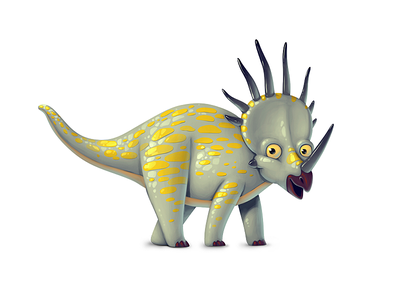 Dinoboom XII Styracosaurus illustration ui gamedev game design dinosaur concept art concept character design character