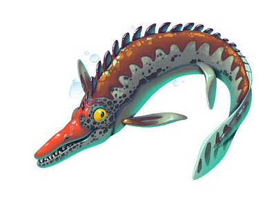 Dinoboom XV Mosasaurus illustration ui gamedev game design dinosaur concept art concept character design character