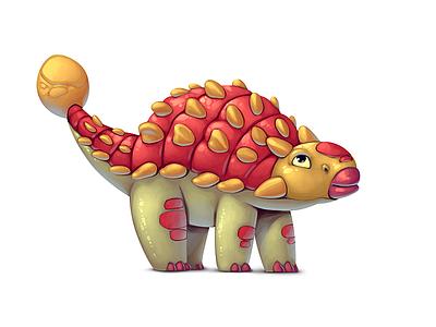 Dinoboom XVII Ankylosaurus illustration ui gamedev game design dinosaur concept art concept character design character