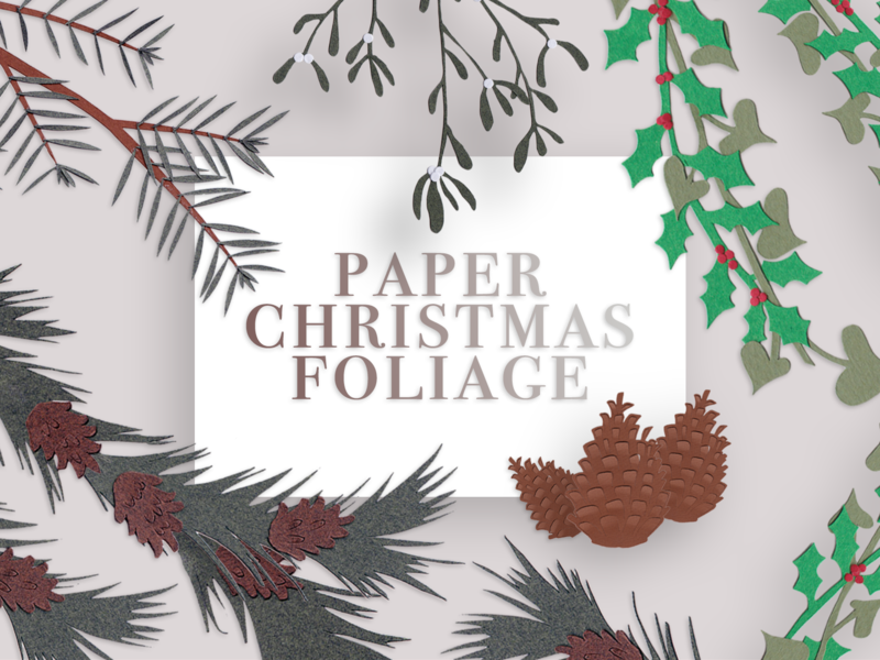 Paper Christmas Foliage Title christmas papercraft bundle illustrator photoshop collection objects web elements papercutart illustration design instagram paper illustration
