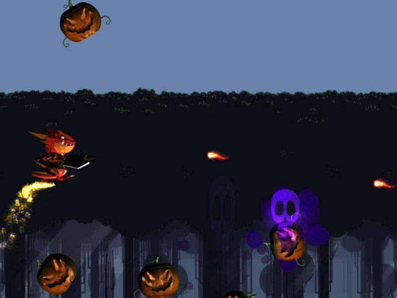 Spunky Dinosaur V.S. Spooky Pumpkins 2dgame unitygame game app gamedesign