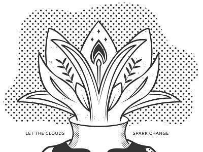 Clouds Spark Change tshirtdesign onecolor illustration