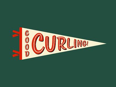 Good Curling Co Pennant retro oxford pennant pennant feltpennant