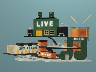 Kitchener Blues Festival - Cross Roads edition vintage texture festival brand 3d c4d