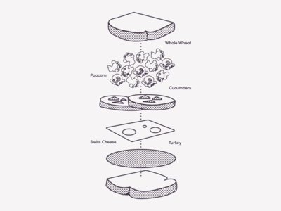 A Sophisticated Sandwich for Children halftone simple one colour diagram sandwich lunch kids packaging kids packaging