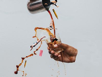 Caffeine Provokes Productivity creative caffine photoshop collage art collage coffe