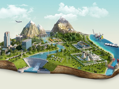 Electric cylinder electric cylinder retouching illustration 3d island