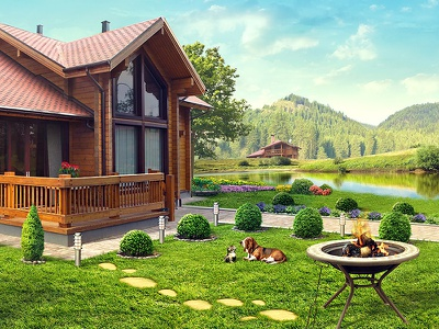 NeoGarden psd retushing ps kokkage building house river house develoment wood home