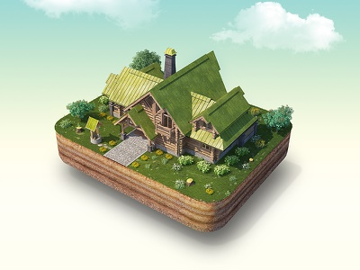 Wood home island psd retushing kokkage building house grass house develoment wood home