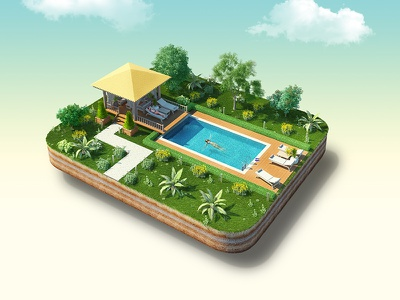 Island with pool creative art design viewup island retushing vray photoshop 3dmax 3d pool