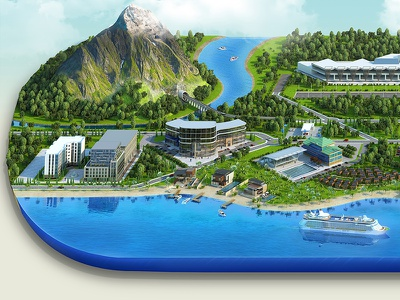 Island mix 3d vray modeling 3d modeling mattpaiting illustration
