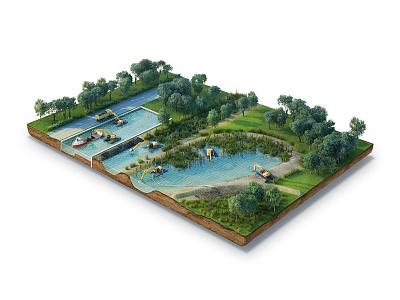 Amfitech 3dillustration water island 3dmax model 3d