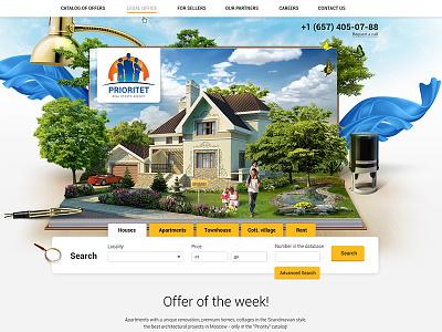Prioritet real estate agency home illustration web-design interface ux ui realestate