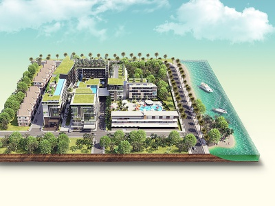 Vip Cata Hotel 3dillustration water island 3dmax model 3d