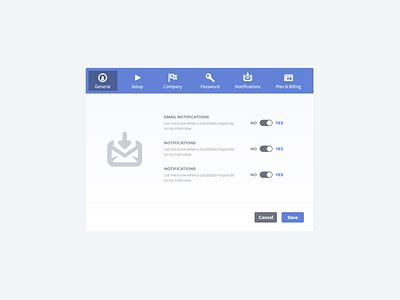 Settings  panel admin settings ui ux interface interview notif notifications preferences web app user kira modal