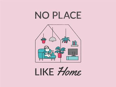 No Place Like Home room dog interior plants house home digital vector art illustration