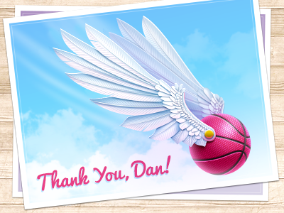 Thank You Dan! thank you first shot ball wings postcard